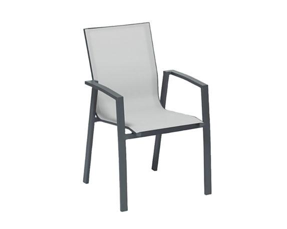 Sedia NewPort C-br Alluminio/textilene Antracite/grigia