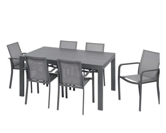 Set Pranzo Max Allungabile +6 Sedie C/br Alluminio Antracite