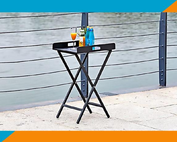 Tavolino C-vassoio Richiudibile Antracite Alluminio