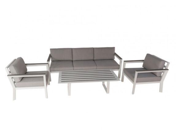 Salotto Linosa 4pz Grigio Alluminio C/cuscini