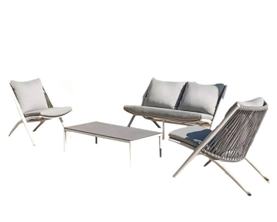 Salotto Loft 4pz Melange Alluminio/kordy C/cuscini