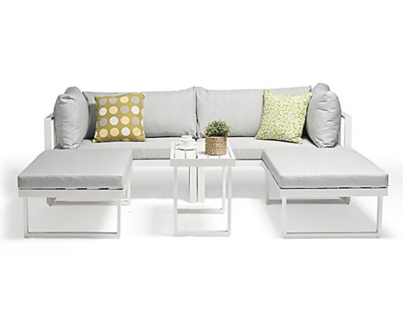 Salotto Antigua 5pz Multifunzione Bianco Grigio/alluminio C/cuscini