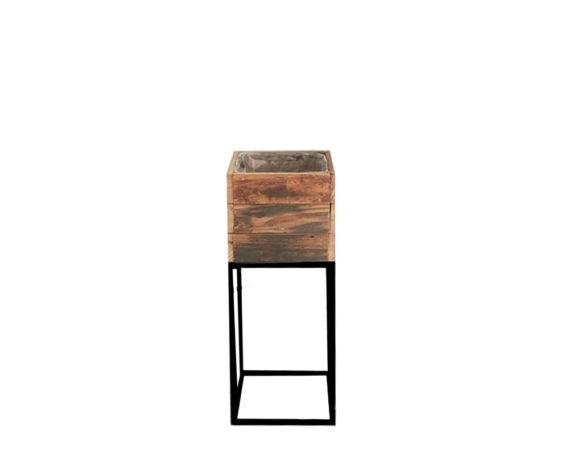 Alzata Porta Pianta Quadrata Medium Legno/metallo