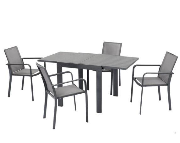 Set Pranzo Max Allungabile + 4 Sedie C/br Alluminio Antracite