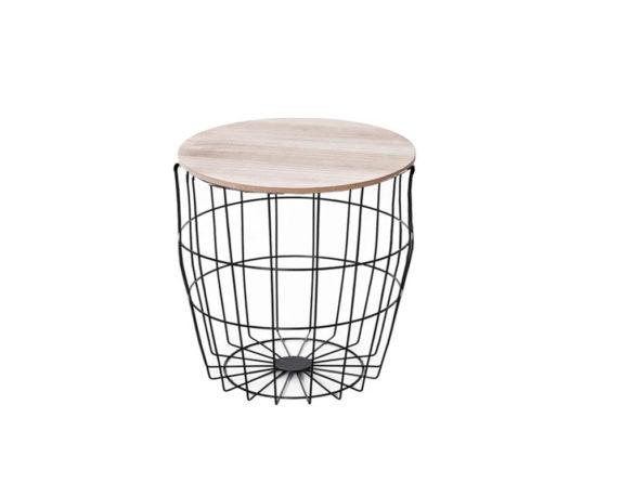 Tavolino Gabbia Bombato Rotondo Small Legno/metallo
