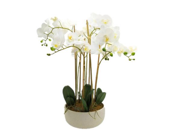 Orchidea Phalaenopsis Artificiale In Vaso H74