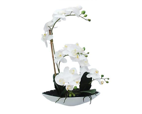 Orchidea Phalaenopsis Artificiale Bianco In Vaso Ovale H38
