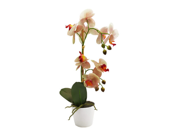 Orchidea Phalaenopsis Artificiale Salmone In Vaso H50