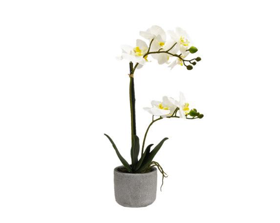 Orchidea Phalaenopsis Artificiale Bianco In Vaso Grigo H60