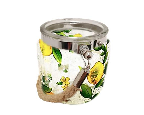 Porta Tealight C/corda Ornamento Limoni Crackle