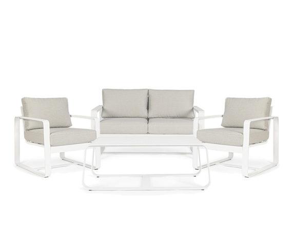 Salotto Merrigan 4pz Bianco Alluminio/textilene C/cuscini – Bizzotto