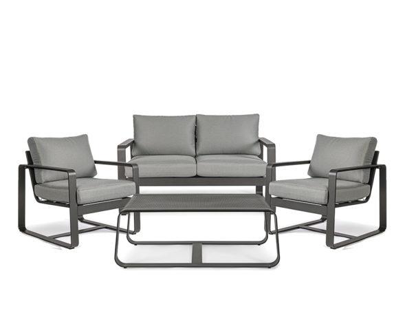 Salotto Merrigan 4pz Antracite Alluminio/textilene C/cuscini – Bizzotto