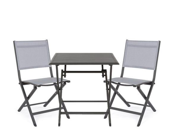 Set Tavolo Elin Antracite + 2 Sedie Alluminio/textilene – Bizzotto