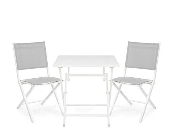 Set Tavolo Elin Bianco + Sedie Alluminio/textilene – Bizzotto