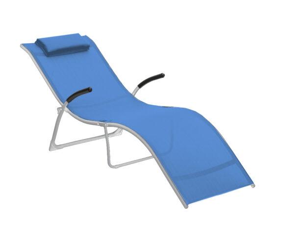 Lettino Flip Pieghevole Argento Textilene Blu