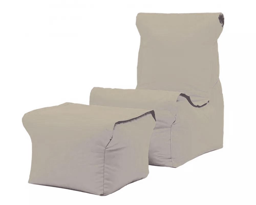 Poltrona relax pouf cuscino set3 beige
