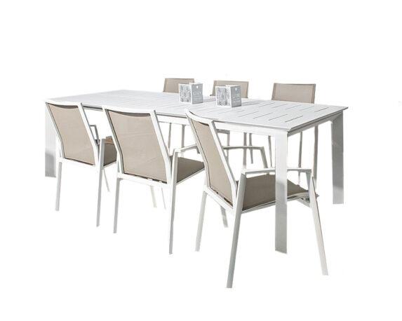 Set Pranzo Konnor Allungabile 160/240x100h + 6 Poltrone Bianco Alluminio/textilene – Bizzotto