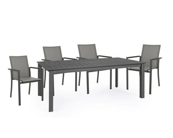 Set Pranzo Konnor Allungabile 160/240x100h + 6 Poltrone Antracite Alluminio/textilene – Bizzotto