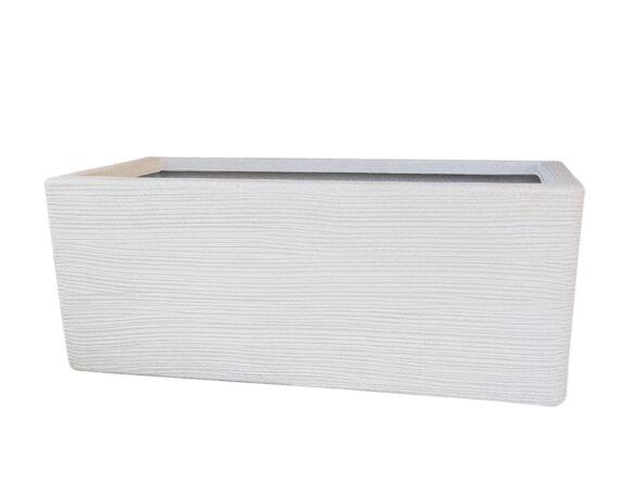 Cassetta Bassa Rigata Shabby 78 Cm Bianco Perla