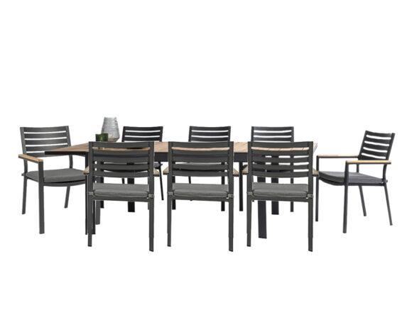 Set Pranzo Delmar Allungabile 220/340x100h + 8 Sedie Antracite Alluminio – Bizzotto