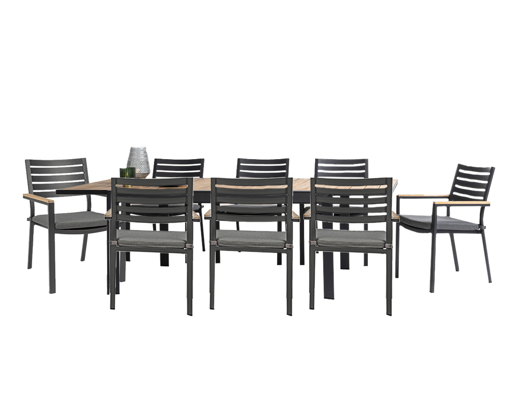 set tavolo delmar 220 340x100 cm antracite 8 sedie 1