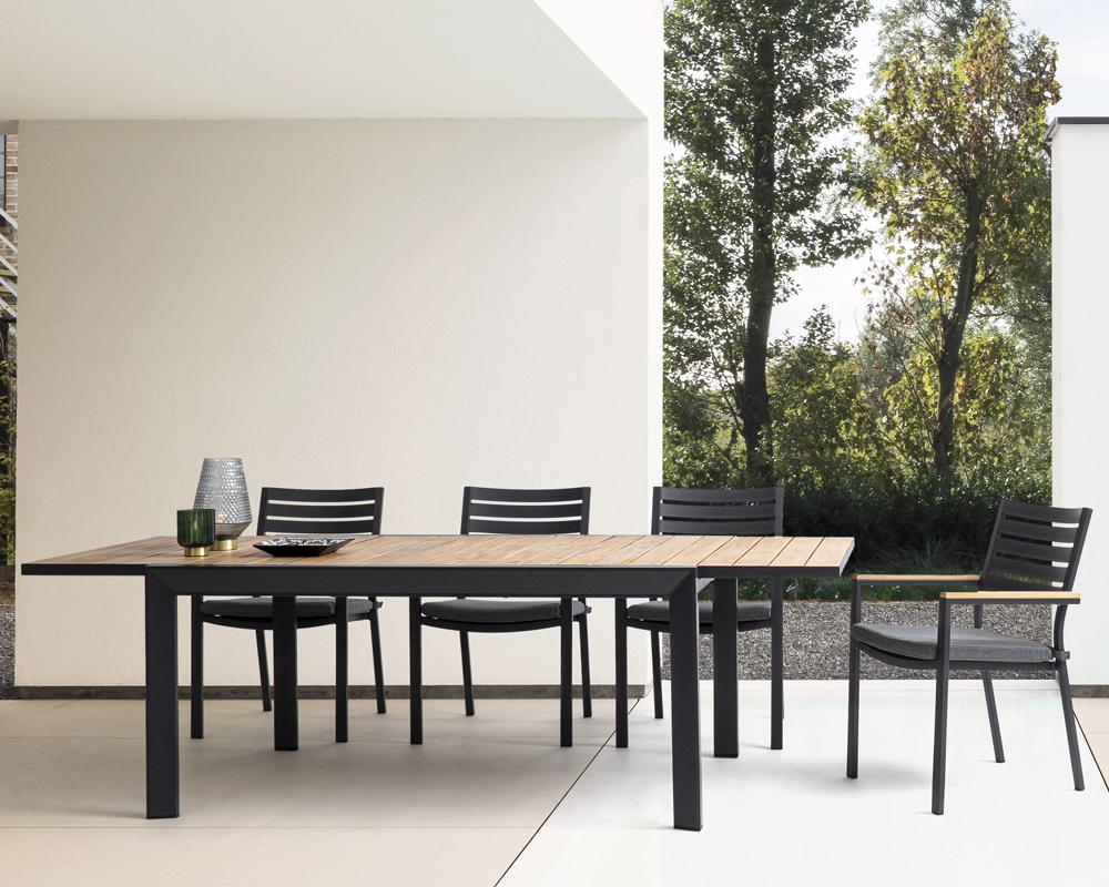 set tavolo delmar 220 340x100 cm antracite 8 sedie